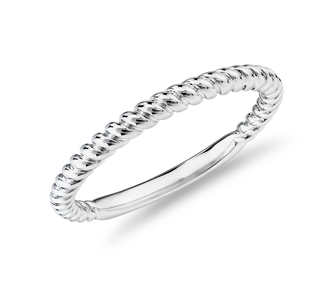 Alliance corde torsadée en or blanc 14 carats