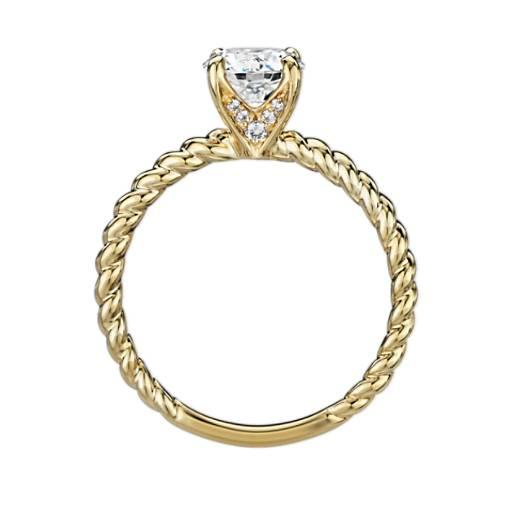 扭纹单石订婚戒指