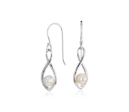 Freshwater Cultured Pearl Twisted Teardrop Earrings in Sterling Silver (5mm)