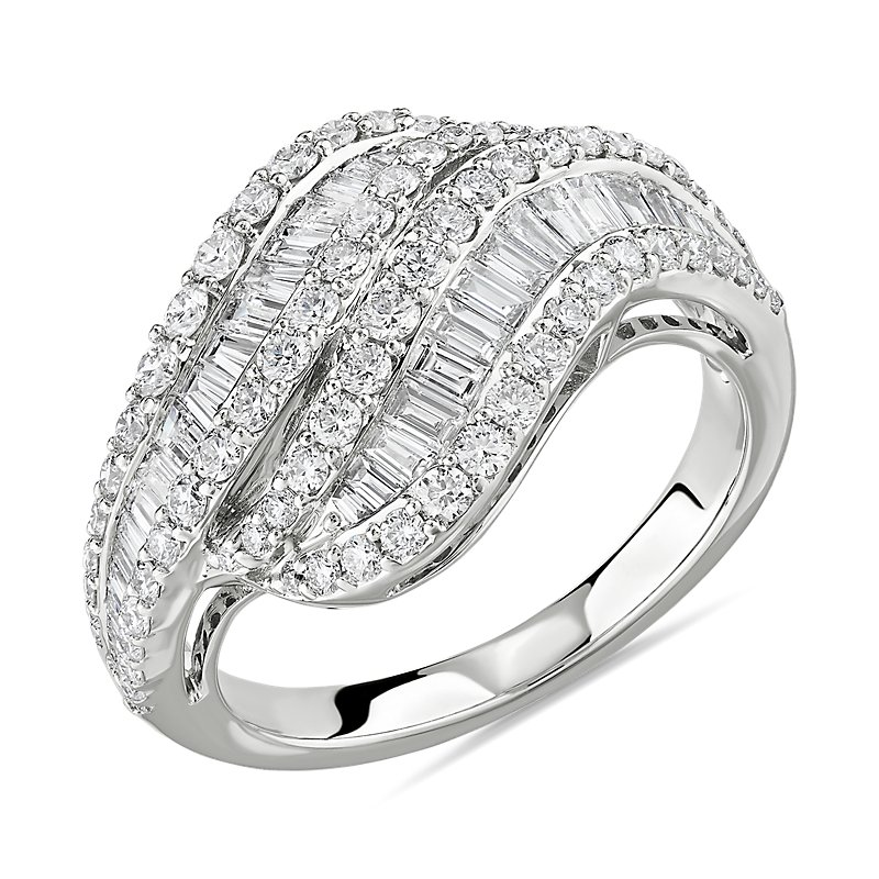 Twisting Baguette and Round Diamond Ring in 14k White Gold 1 3/8