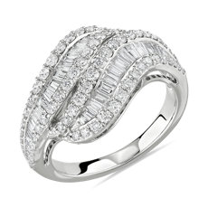 NEW Twisting Baguette and Round Diamond Ring in 14k White Gold 1 3/8 ct. tw.)