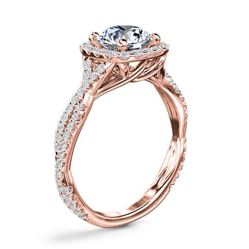 Twisting Cushion Halo Diamond Engagement Ring
