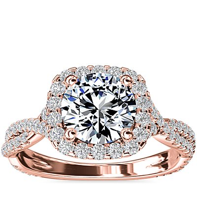 Twisting Cushion Halo Diamond Engagement Ring in 14k Rose Gold (1/2 ct. tw.)