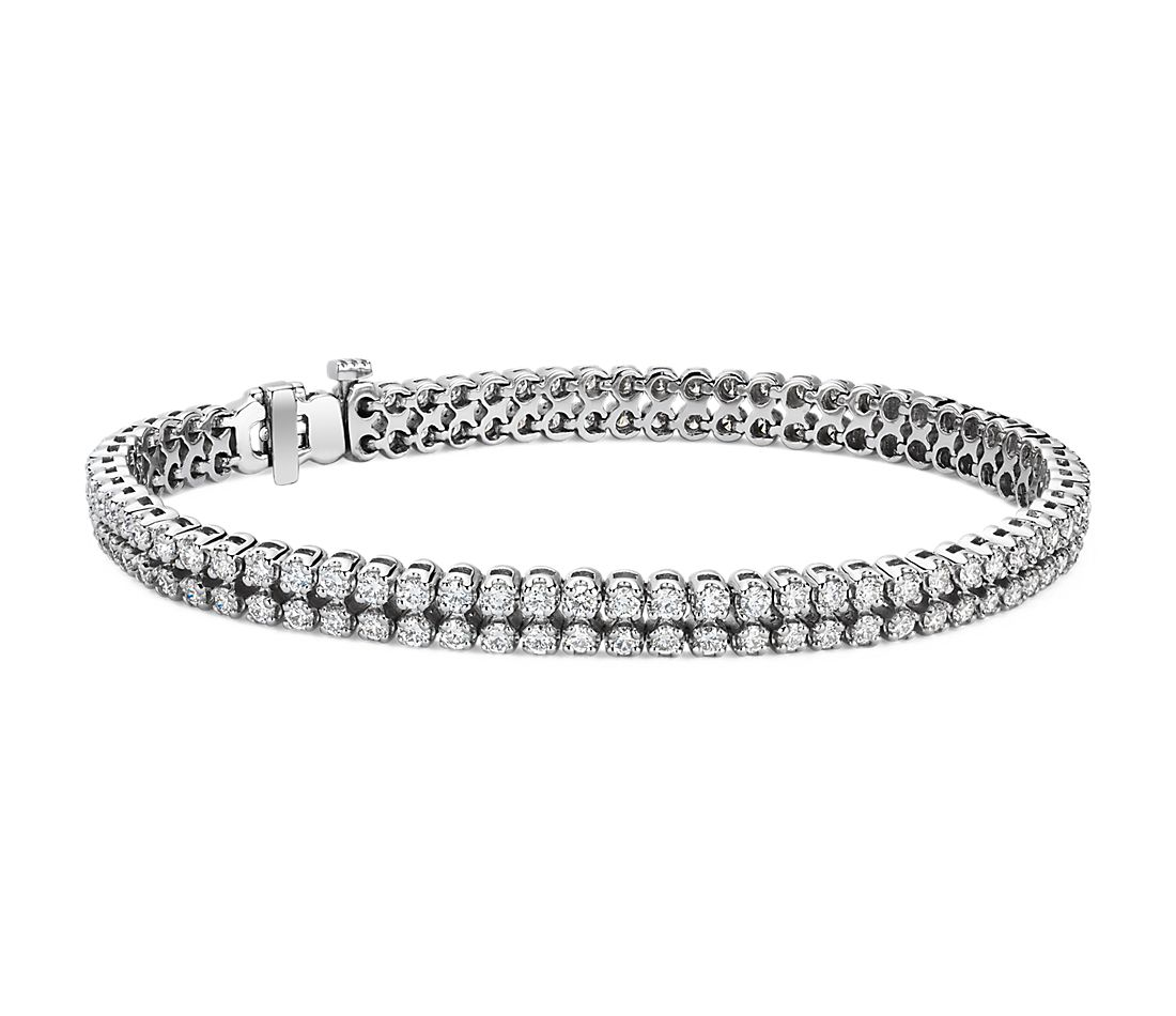 Diamond Two Row Tennis Bracelet In 14k White Gold 3 5 Ct