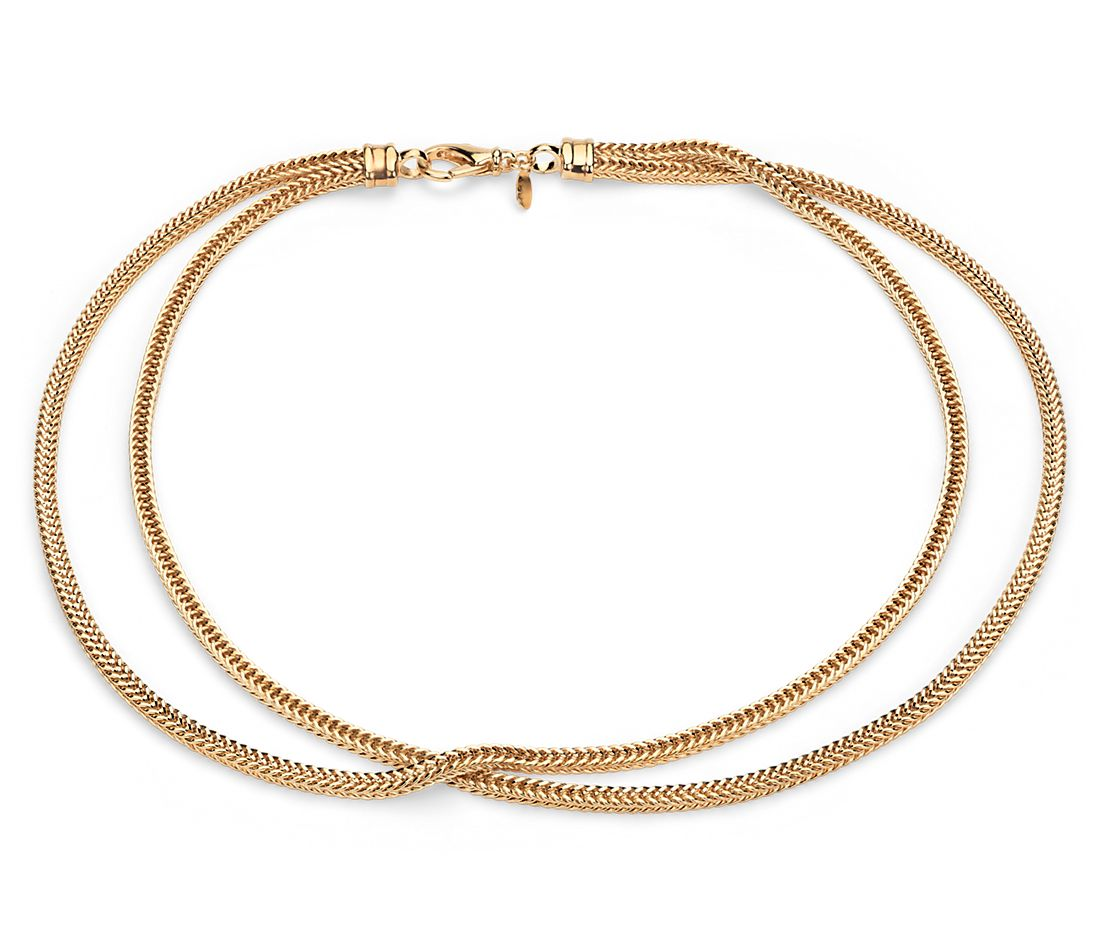Two Row Foxtail Necklace in Yellow Gold Vermeil