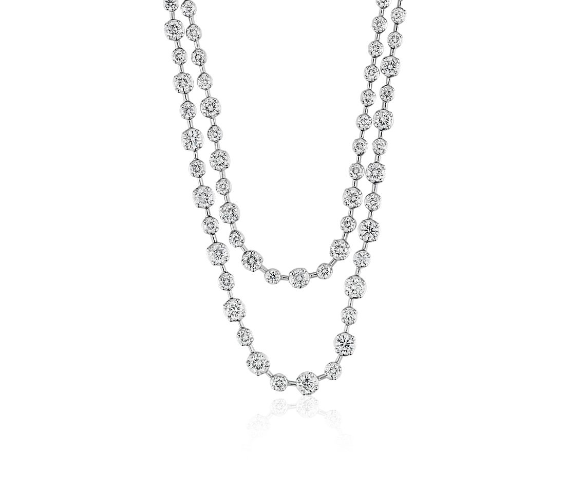 Two Row Graduated Diamond Necklace in 14k WG (3 3/8 ct. tw.)