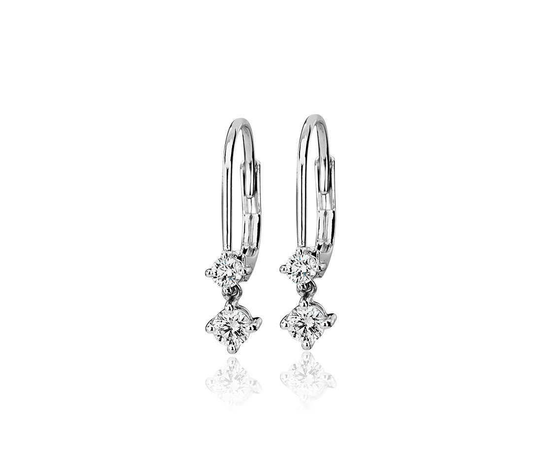 Diamond Two Stone Drop Earrings In 14k White Gold 1 2 Ct Tw