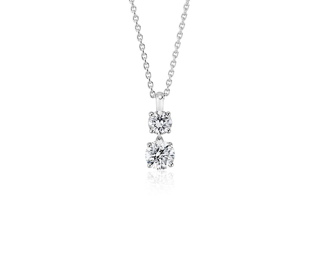 Two-Stone Diamond Drop Pendant in 14k White Gold