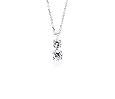 Two-Stone Diamond Drop Pendant in 14k White Gold (1 ct. tw.)