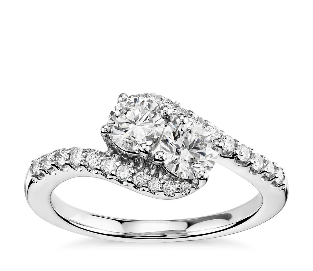 Two-Stone Diamond Ring in 14k White Gold (1 ct. tw.)