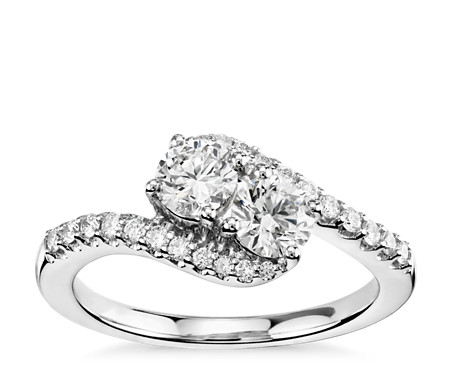 14k 白金双石钻石戒指<br>(1 克拉总重量)