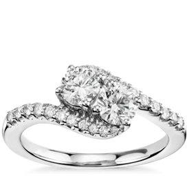 Two-Stone Diamond Ring in 14k White Gold (1 ct. tw.)