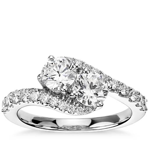 Two Stone Diamond Ring In 14k White Gold 1 1 3 Ct Tw