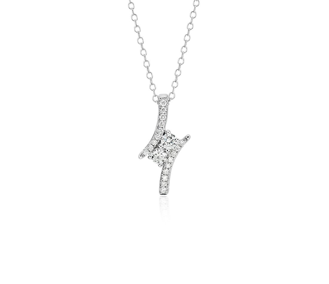 Two Stone Diamond Pendant in 14k White Gold (1/3 ct. tw.)
