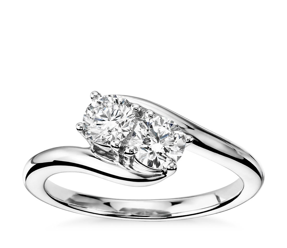 Two-Stone Solitaire Diamond Ring in 14k White Gold (3/4 ct. tw.)