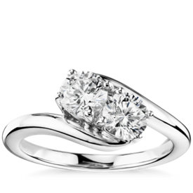 Two-Stone Solitaire Diamond Ring in 14k White Gold (1 ct. tw.)