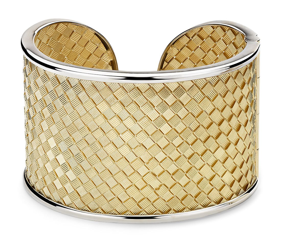 Two-Tone Golden Weave Cuff in 18k Italian Yellow Gold