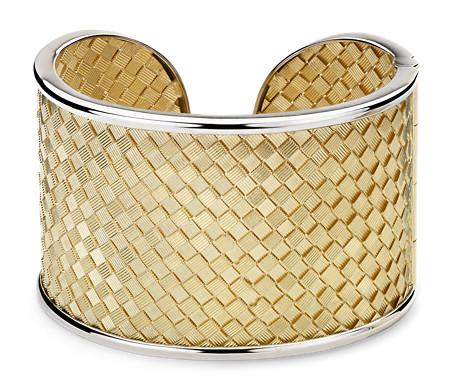 Two-Tone Golden Weave Cuff in 18k Italian Yellow Gold
