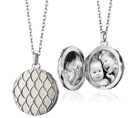Two-Tone Basket Woven Locket in Sterling Silver and 18k Yellow Gold