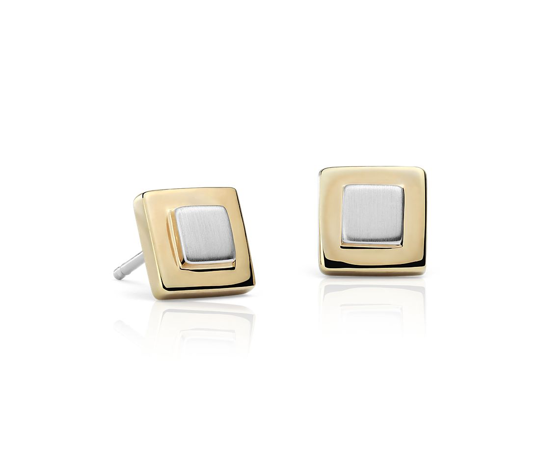 Two Tone Box Stud Earrings In Sterling Silver And Yellow Gold Vermeil