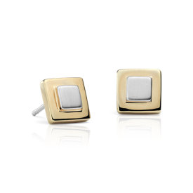Two-Tone Box Stud Earrings in Sterling Silver and Yellow Gold Vermeil