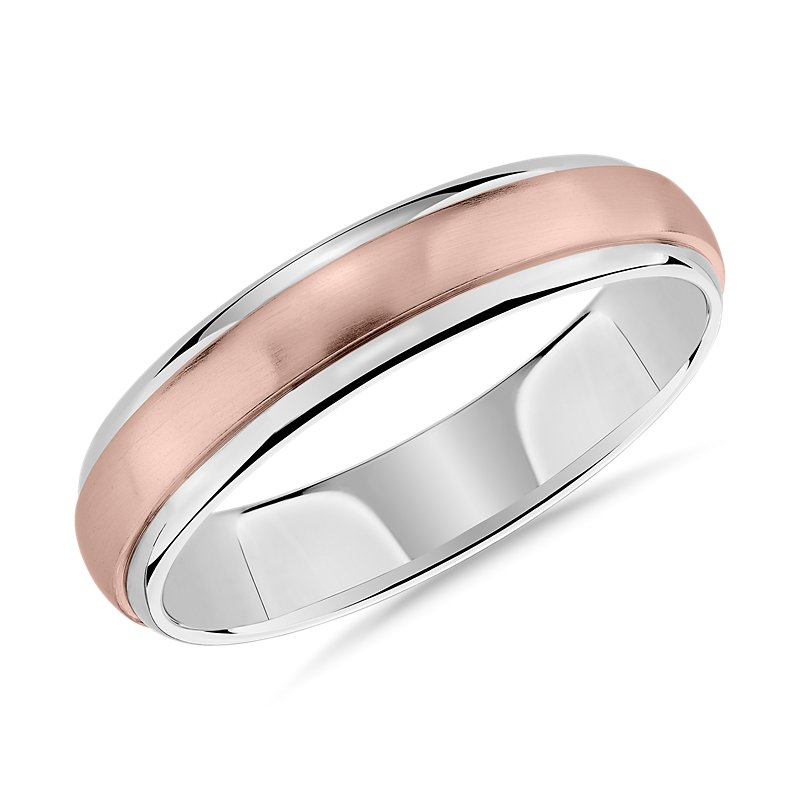 Two-Tone Brushed Dome Inlay Wedding Ring in 14k Rose and White Go