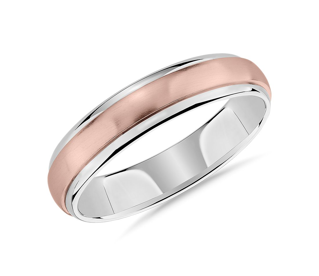 Two-Tone Brushed Dome Inlay Wedding Ring in 14k Rose and White Gold (5mm)