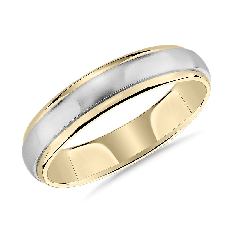 Two-Tone Brushed Dome Inlay Wedding Ring in 14k White and Yellow