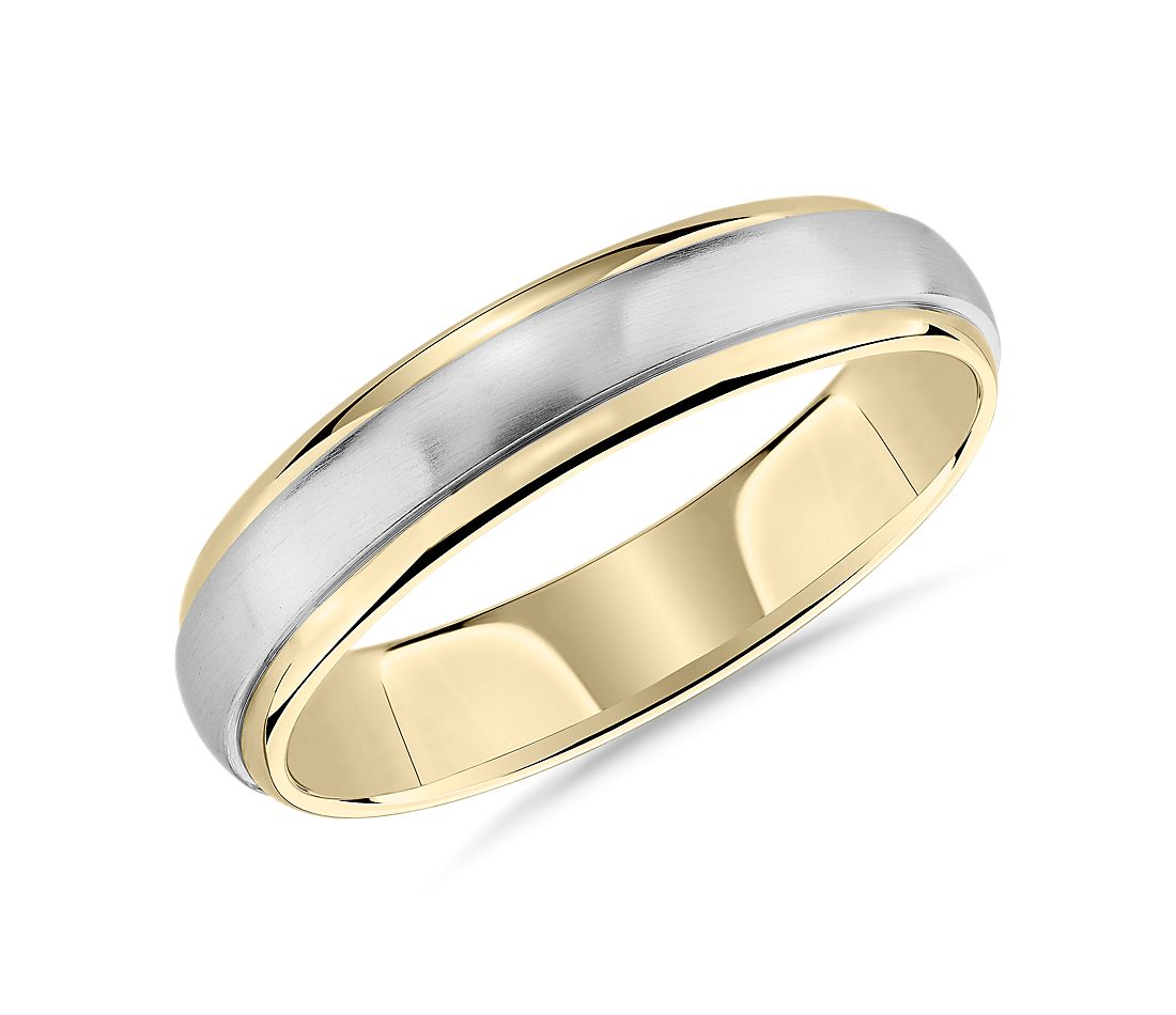 Two-Tone Brushed Dome Inlay Wedding Ring in 14k White and Yellow Gold (5mm)