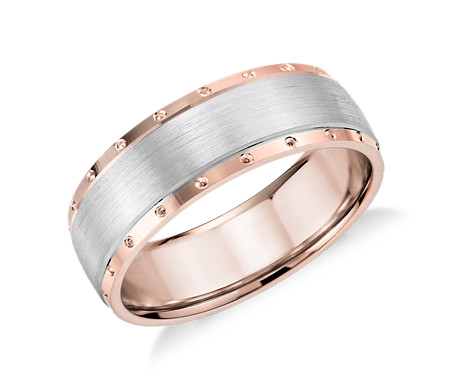 Two-Tone Studded Brushed Inlay Wedding Ring  in 14k White and Rose Gold (7mm)