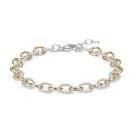 Two Tone Chain Link Bracelet In Sterling Silver And 14k