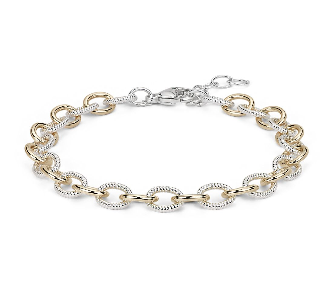 Two Tone Chain Link Bracelet In Sterling Silver And 14k Yellow Gold