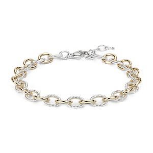 Two-Tone Chain Link Bracelet in Sterling Silver and 14k Yellow Gold