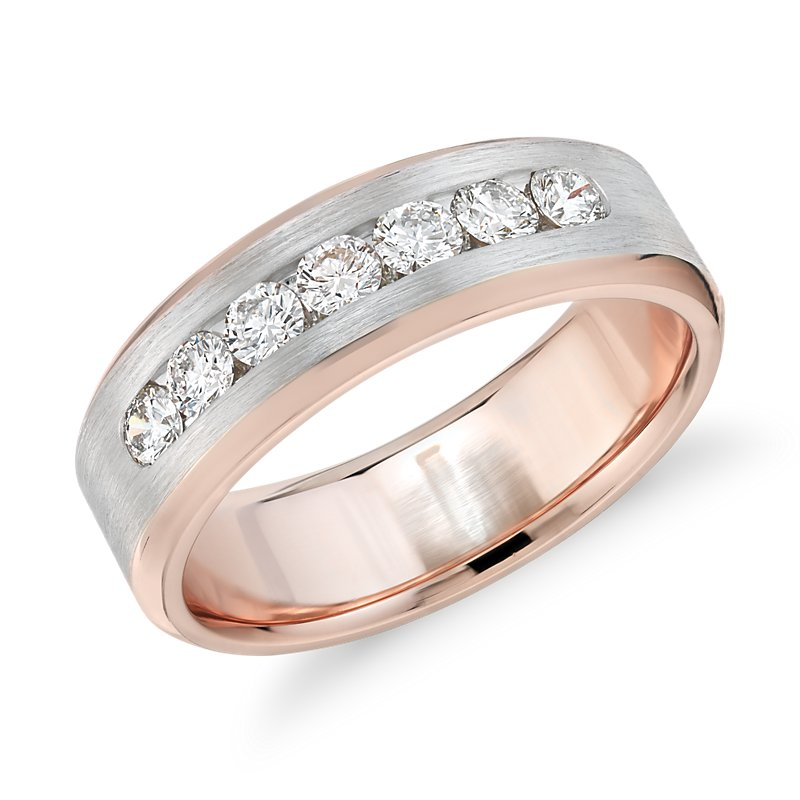 Two-Tone Channel-Set Diamond Ring in 14k White and Rose Gold (3/4