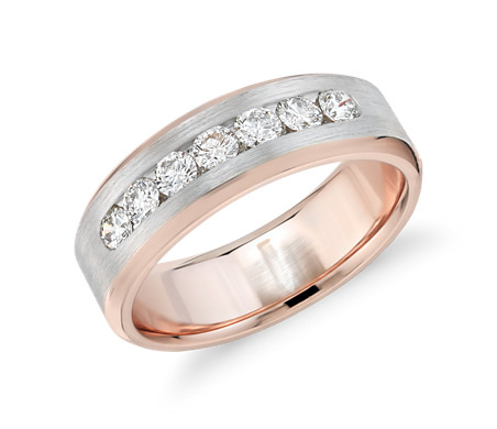 Two-Tone Channel-Set Diamond Ring in 14k White and Rose Gold (3/4 ct. tw.)
