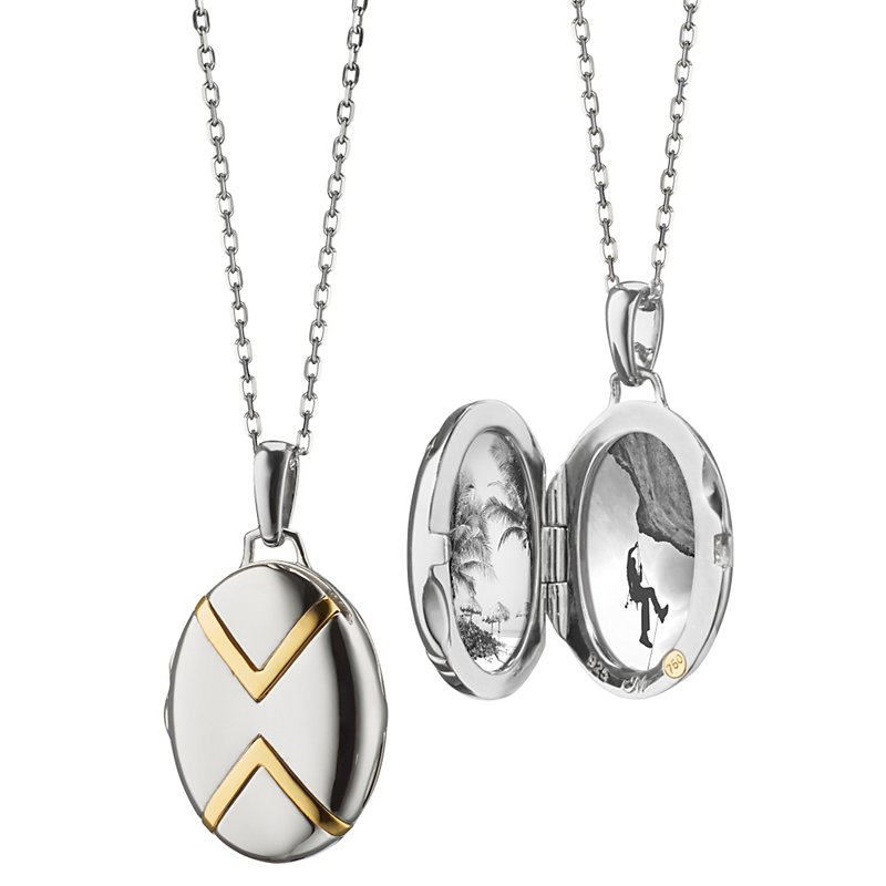 Petite Two-Tone Chevron Locket in Sterling Silver and 18k Yellow