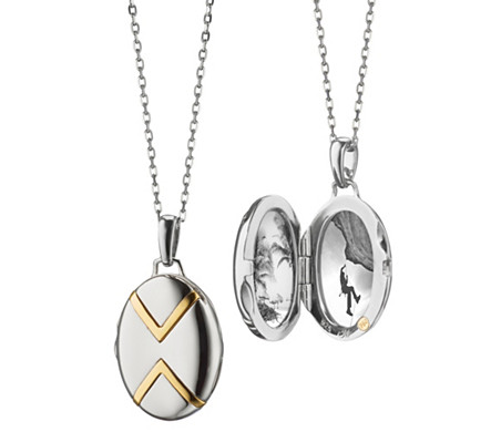 925 純銀及18k 金 Monica Rich Kosann 小巧雙色 V 形小盒墜子