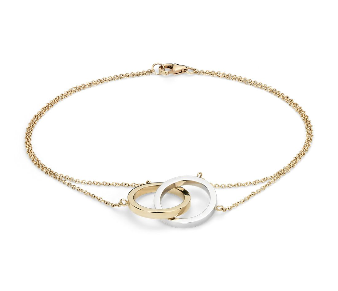 Two-Tone Forever Together Bracelet in 14k White and Yellow Gold