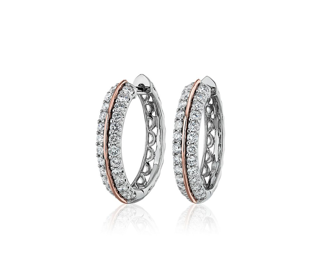 Two-Tone Diamond Hoop Earrings in 14k White and Rose Gold (1 ct. tw.)