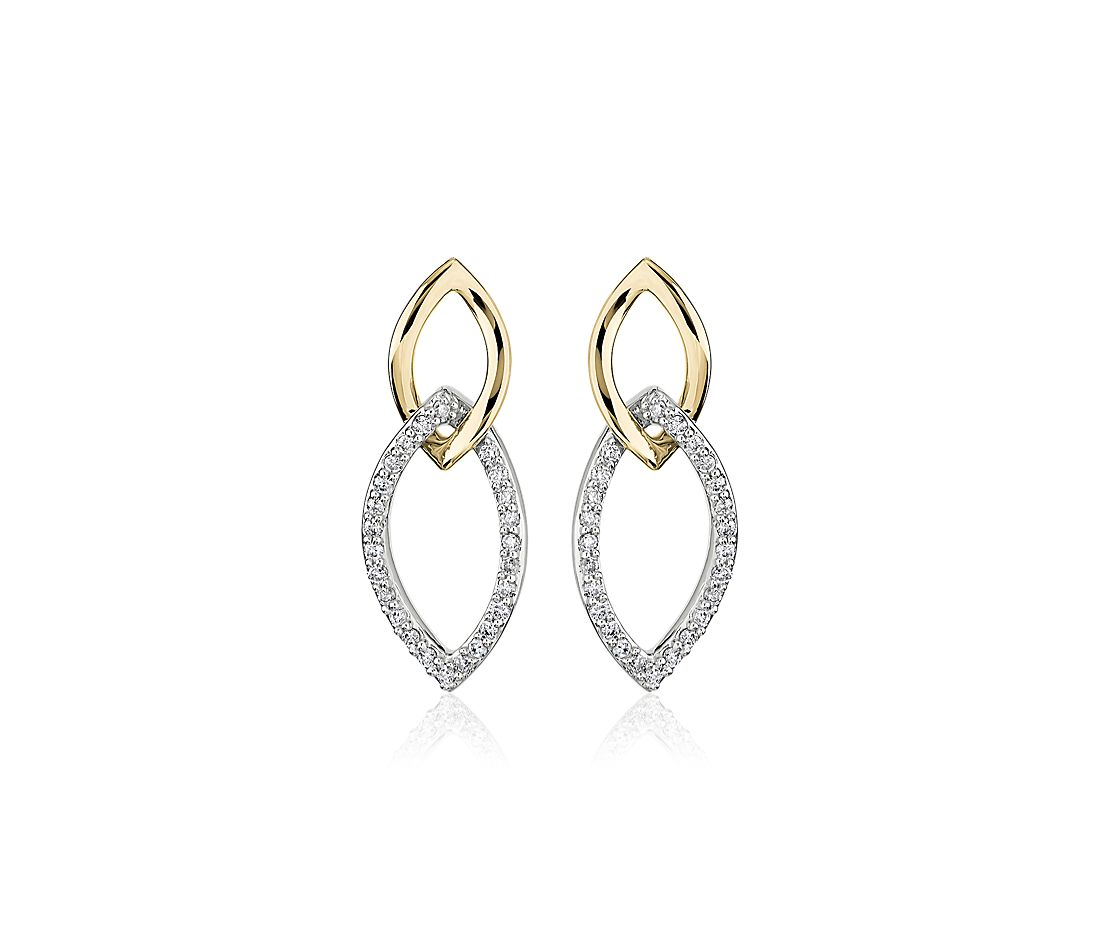 Two-Tone Diamond Link Earrings in 14k Yellow and White Gold (1/5 ct. tw.)