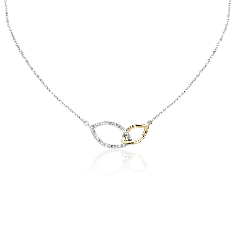 Two-Tone Diamond Link Necklace in 14k White and Yellow Gold (1/10