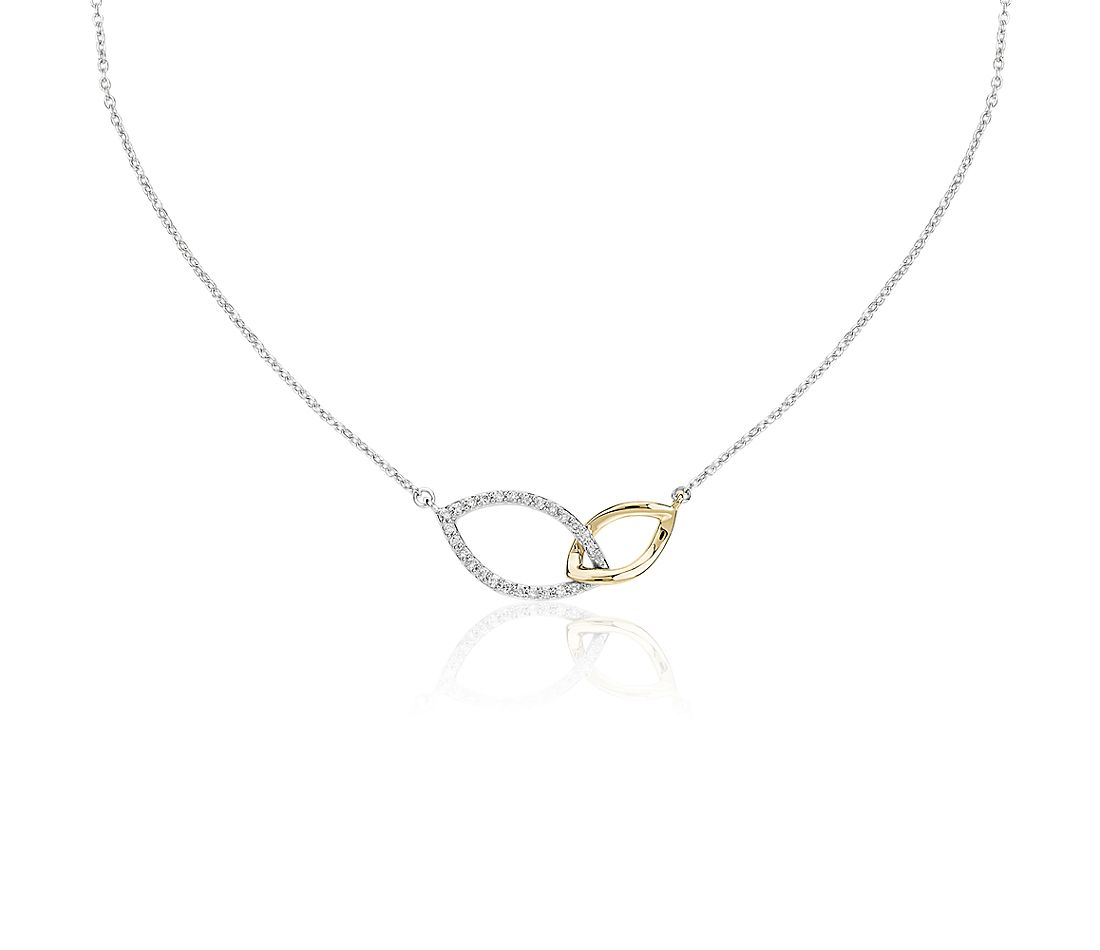 Two-Tone Diamond Link Necklace in 14k White and Yellow Gold (1/10 ct. tw.)