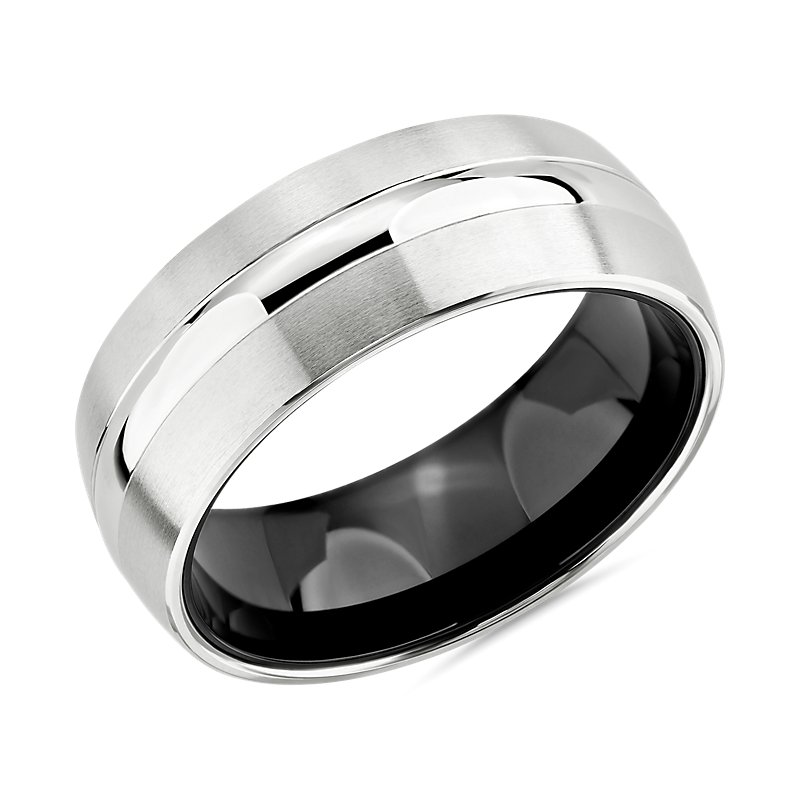 Two-Tone Domed Inlay Wedding Ring in White Tungsten Carbide (8mm)