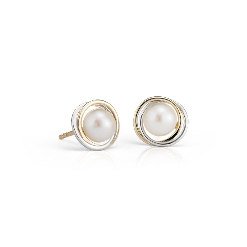 Freshwater Cultured Pearl Two-Tone Halo Stud Earrings in 14k Whit