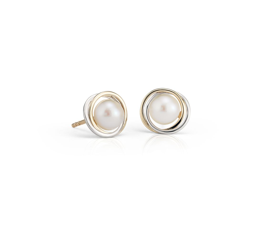 Freshwater Cultured Pearl Two Tone Halo Stud Earrings In 14k White And Yellow Gold