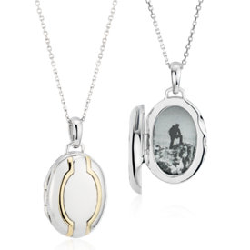 Petite Two-Tone Half Circle Locket in Sterling Silver and 18k Yellow Gold (Limited Edition)