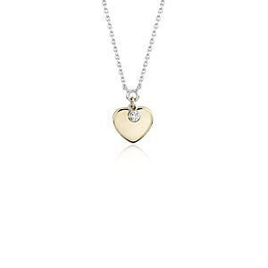 NEW Two-Tone Heart Charm Pendant with Diamond Detail in 14k White & Yellow Gold