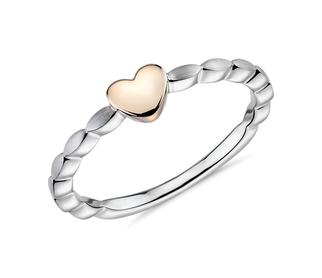 Two-Tone Heart Stacking Ring in 14k White and Rose Gold