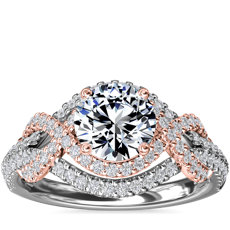 Two-Tone Intertwined Double Halo Diamond Engagement Ring in 14k White and Rose Gold (1/2 ct. tw.)