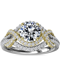 Two-Tone Intertwined Double Halo Diamond Engagement Ring in 14k White and Yellow Gold (1/2 ct. tw.)